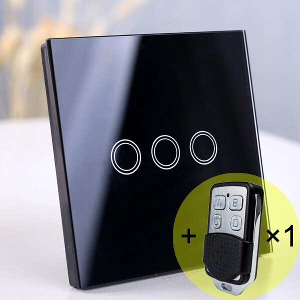3 gang Black Remote - EU/UK Standard Touch Switch, Wall Light Touch Screen Switch, wireless Remote control Wall touch switch , 2 gang gray AC130~250V