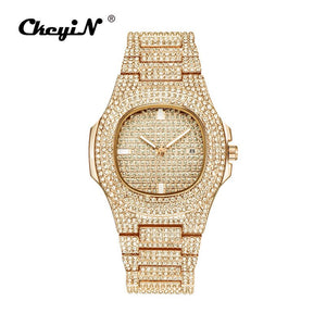Golden - Men Watch Sliver Rose Gold Mens Watches Top Brand Luxury Diamond Stainless Steel Quartz Wristwatch Dress Business Date Clock 45