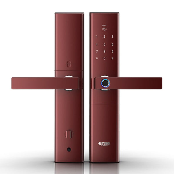 Red - Smart Fingerprint Door Lock  Security  Intelligent Lock  Biometric Electronic Wifi Door Lock With Bluetooth APP Unlock