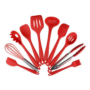 A Red - Kitchen Silicone Non-stick Cooking Spoon Spatula Ladle Egg Beaters Utensils Dinnerware Set Cooking Tools Accessories Supplies