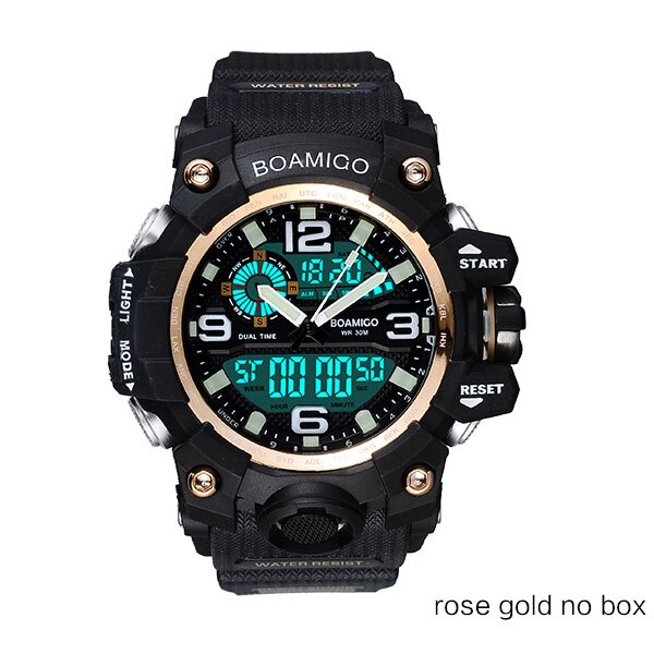 rose gold no box - Men Sports Watches BOAMIGO Brand Digital LED Orange Shock Swim Quartz Rubber Wristwatches Waterproof Clock Relogio Masculino