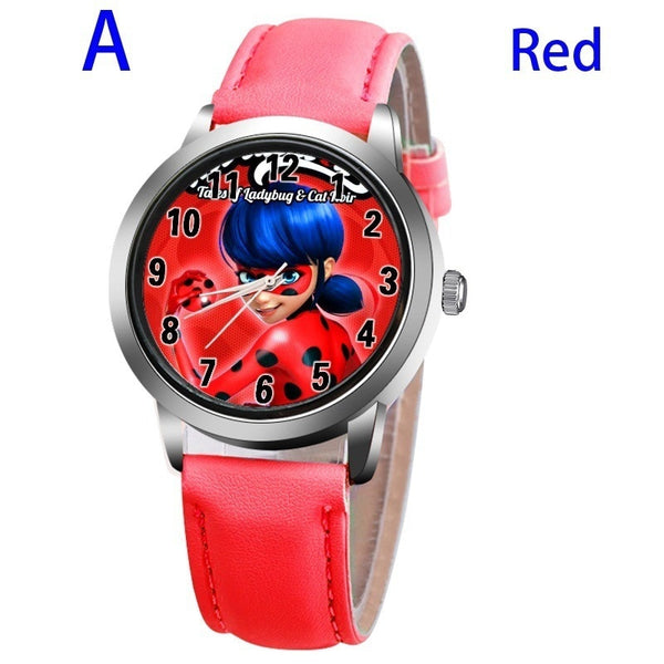 A-RED - New arrive Miraculous Ladybug Watches Children Kids gift Watch Casual Quartz Wristwatch fashion leather watch Relogio Relojes