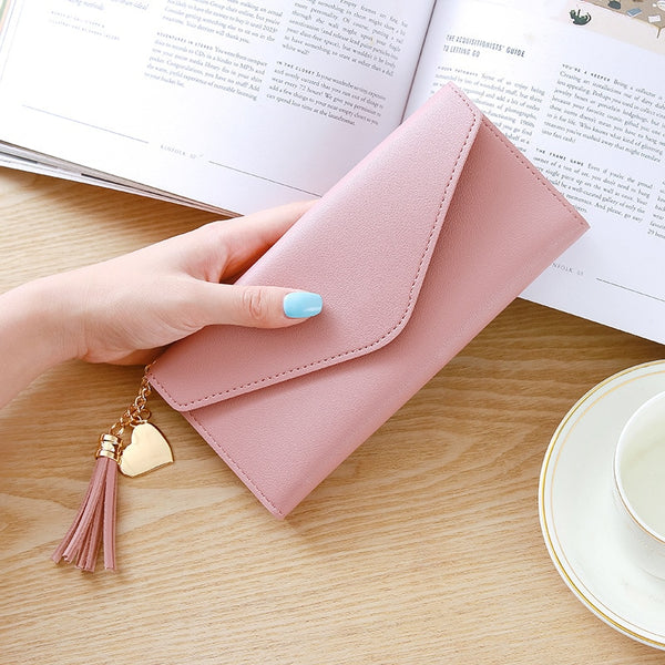 Pink - Long Wallet Women Purses Tassel Fashion Coin Purse Card Holder Wallets Female High Quality Clutch Money Bag PU Leather Wallet