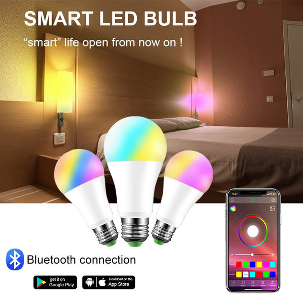 [variant_title] - Dimmable E27 LED Bluetooth 4.0 Smart Bulb Magic Lamp RGBW 15W AC85-265V Music Voice Control Color Changeable For Home Lighting