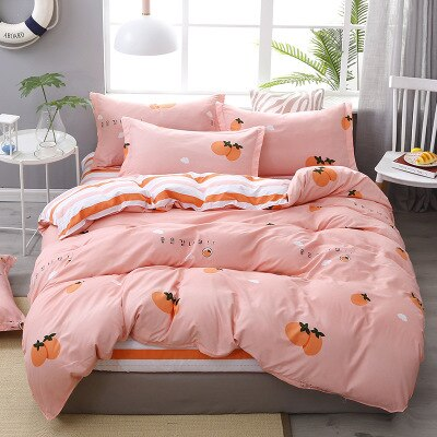 4pcs Pink Strawberry kawaii Bedding Set Luxury Queen Size Bed Sheets Children Quilt Soft Comforter Cotton Bedding Sets