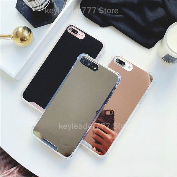 Shock-Proof Phone Case For iPhone 11 Pro XS MAX XR 7 8 Plus X Luxury Cosmetic mirror Girly Glass TPU+PC Phone Back Cover Coque