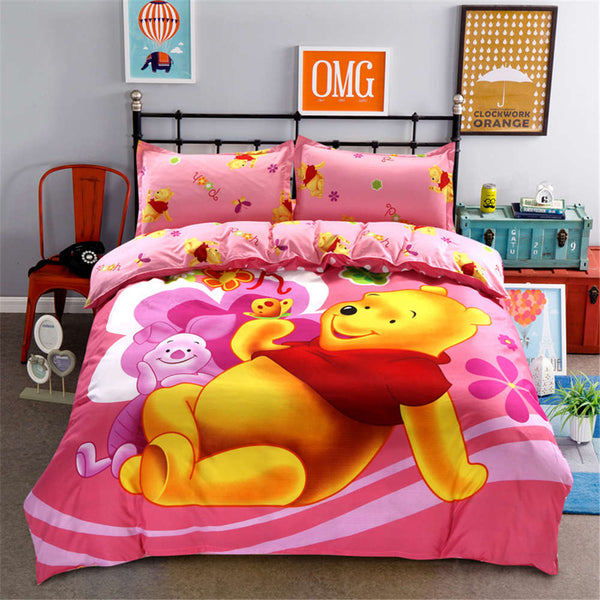 Disney cute Cartoon Winnie Pooh Piglet Tigger  Bedding Set King Queen Size Duvet Cover Sheet Bedspread Girls Home gift