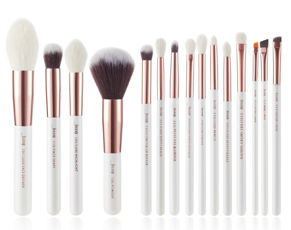 T222(15pcs) - Jessup brushes Pearl White/Rose Gold Makeup brushes set Professional Beauty Make up brush Natural hair Foundation Powder Blushes