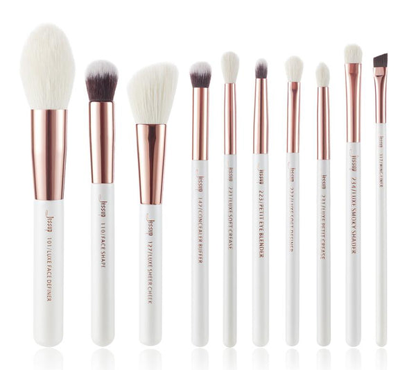 T223(10pcs) - Jessup brushes Pearl White/Rose Gold Makeup brushes set Professional Beauty Make up brush Natural hair Foundation Powder Blushes