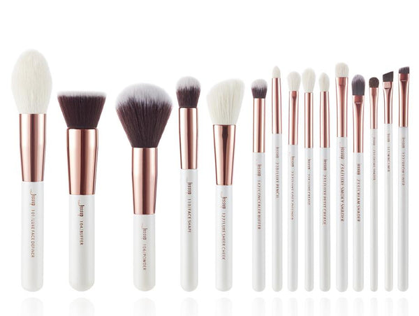 T220(15pcs) - Jessup brushes Pearl White/Rose Gold Makeup brushes set Professional Beauty Make up brush Natural hair Foundation Powder Blushes