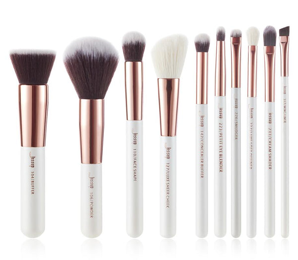 T216(10pcs) - Jessup brushes Pearl White/Rose Gold Makeup brushes set Professional Beauty Make up brush Natural hair Foundation Powder Blushes