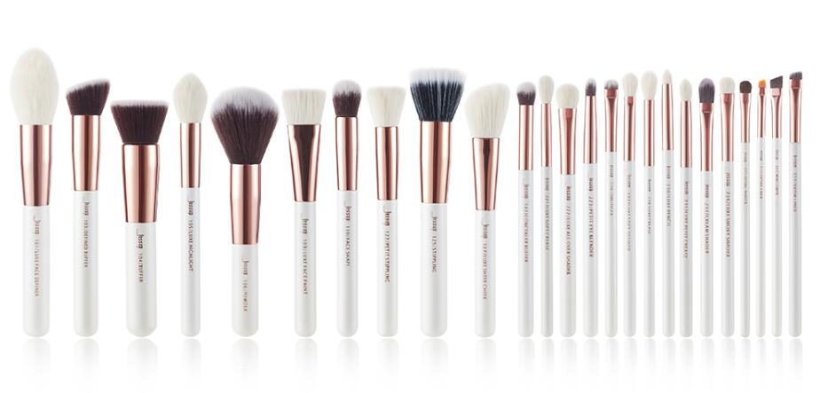 T215 ( 25pcs ) - Jessup brushes Pearl White/Rose Gold Makeup brushes set Professional Beauty Make up brush Natural hair Foundation Powder Blushes