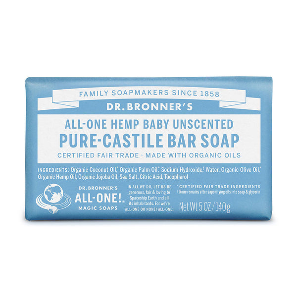 Dr Bronner's Pure-Castile Bar Soap Baby Unscented