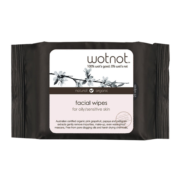 WOTNOT Natural Organic Facial Wipes Oily/Sensitive