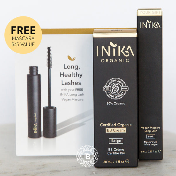 INIKA Certified Organic BB Cream Foundation with FREE Long Lash Mascara