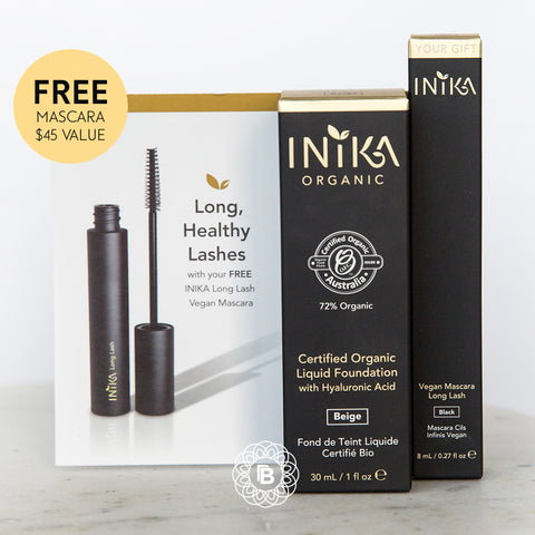INIKA Certified Organic Liquid Mineral Foundation with FREE Long Lash Mascara