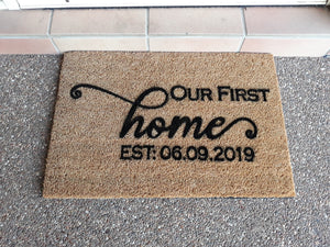 First Home doormat personalised with a date