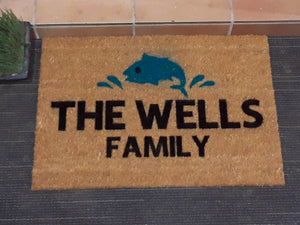 Fishing personalised doormat