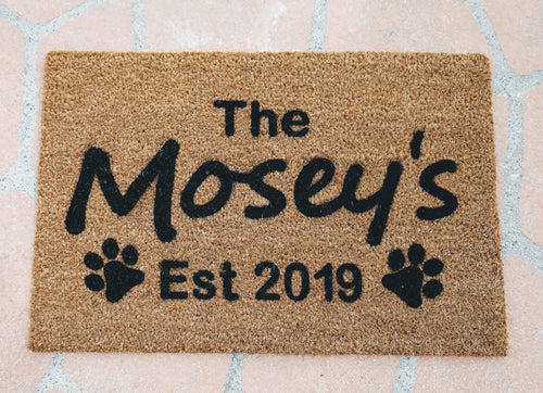 The family name Personalised Doormat with paw prints