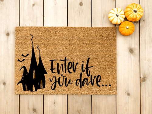 Halloween doormat. Enter if you dare