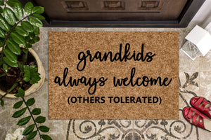 Grandkids Always welcome - Personalised Doormat Australia