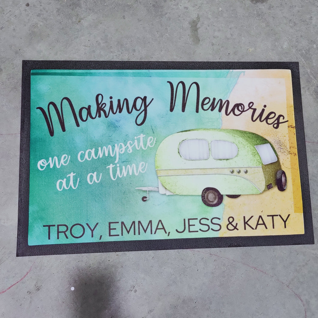 making memories coloured caravan doormat