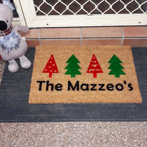 Christmas Family name doormat