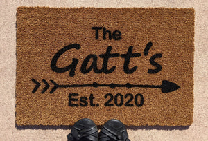Family Surname Doormat with the established year  | Personalised Front Door Mat