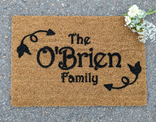 Personalised Family name front door with a leaf border