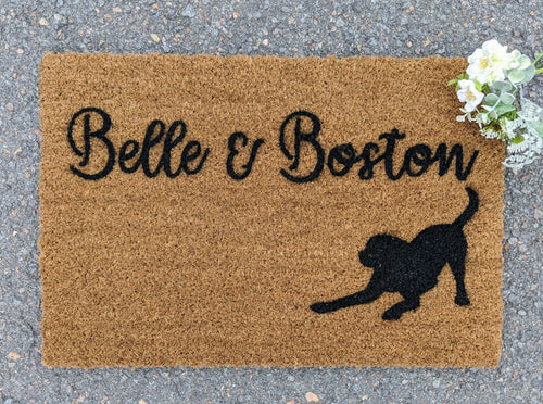 Personalised welcome mat with a dog picture