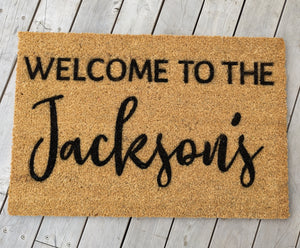 Welcome to the last name Personalised Door mat