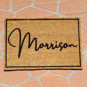 Surname with border Personalised doormat