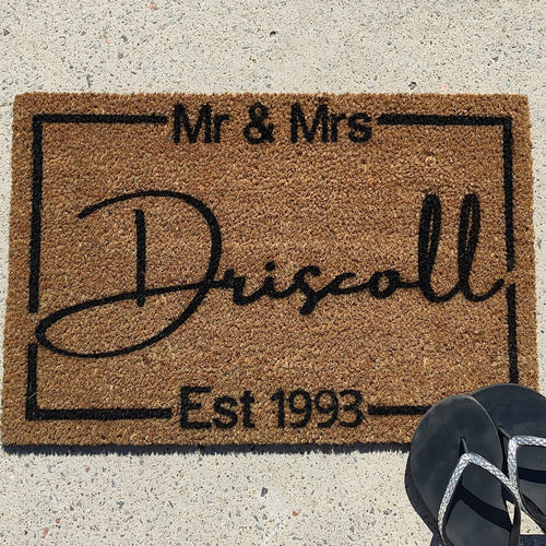 Mr and Mrs personalised surname with established date doormat