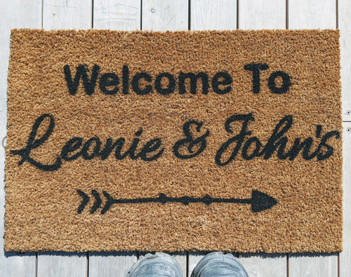 Couple Personalised Doormat in script