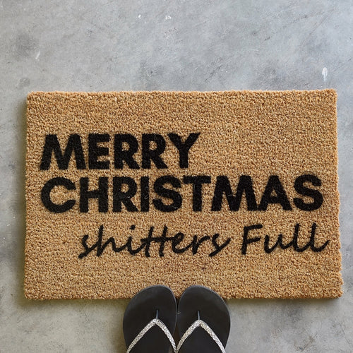 Merry Christmas shitters full front door mat