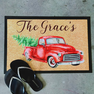 Red christmas truck customised Doormat