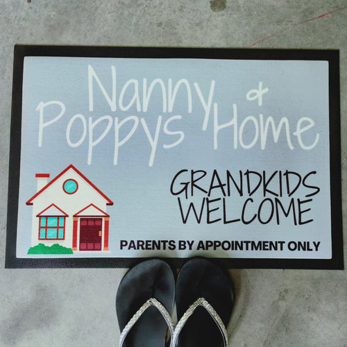 Nanny & Poppy's home grandkids welcome personalised Doormat