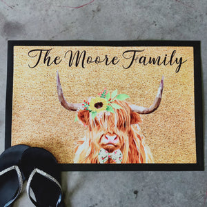 Personalised highland cow Doormat