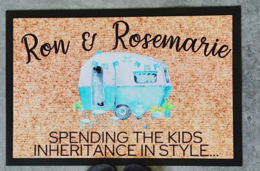 kids inheritance coloured caravan doormat