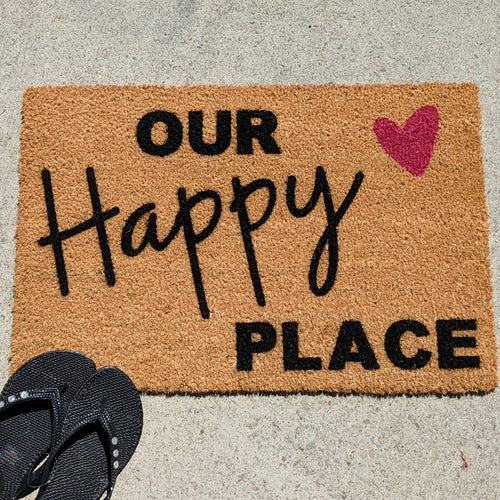 Valentines Special Our Happy Place  Personalised Doormat