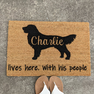 Personalised dog doormat lives here with his/her people - dog breed is interchangable