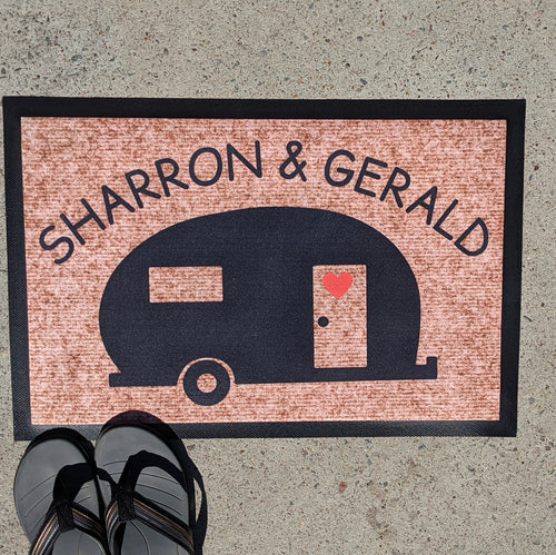 Curved font caravan personalised doormat