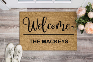 Welcome Family Name Personalised Doormat
