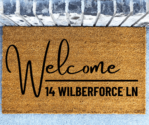 Welcome street address personalised front doormat