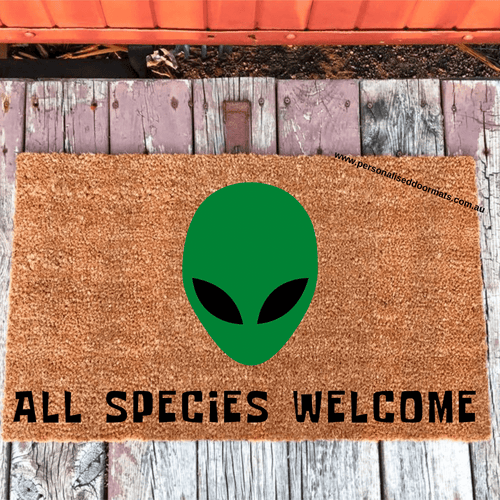 All Species Welcome Alien Doormat