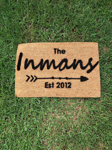 Family Surname Doormat with the established year - Personalised Doormat Australia