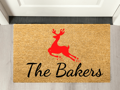 Xmas family name doormat - personalised