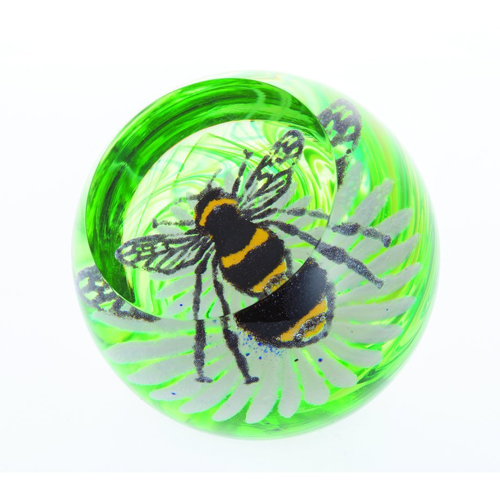 Caithness Glass Bee on a Flower Paperweight-delivery 2021-Caithness Glass-Goviers of Sidmouth
