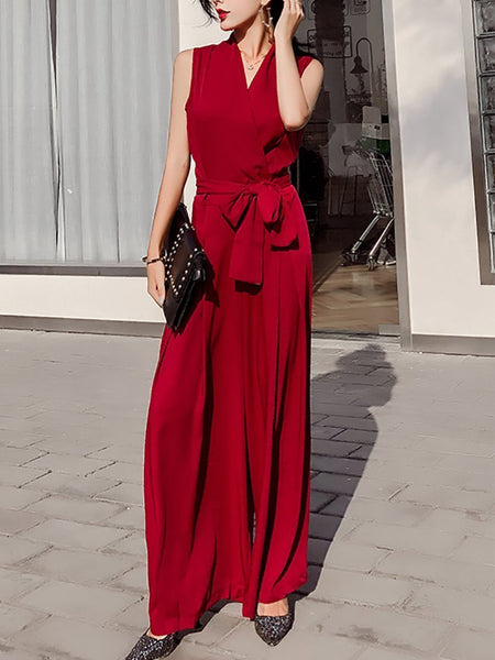 Sexy V Neck Bow Sleeveless Pure Colour Jumpsuits