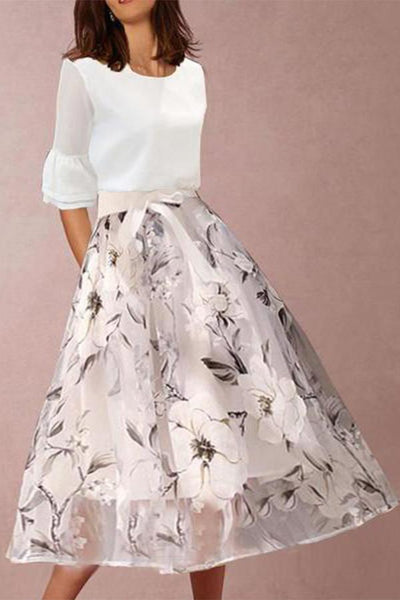 Round Neck Floral Printed Bell Sleeve Two-Piece Maxi Dresses